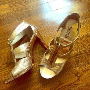 Rose Gold Michael Kors Berkley T strap heels